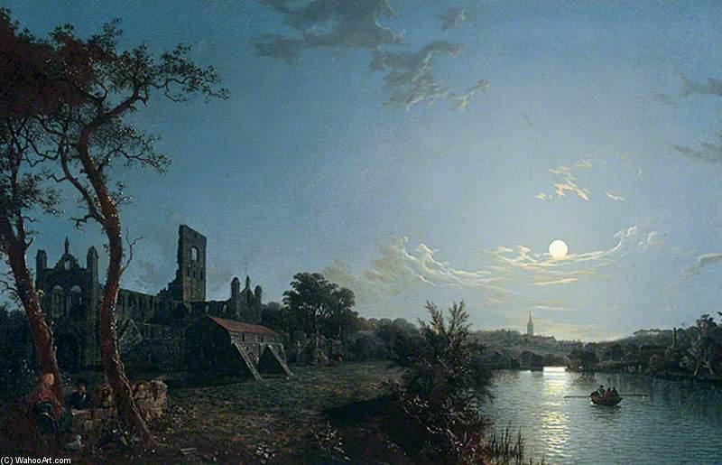 Order Museum Quality Reproductions : Morning, With A View Of Kirkstall Abbey by Abraham Pether (1756-1812, United Kingdom) | WahooArt.com