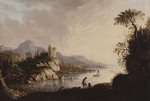 Abraham Pether - River Landscape With Fishermen In The Foreground, A Castle Beyond
