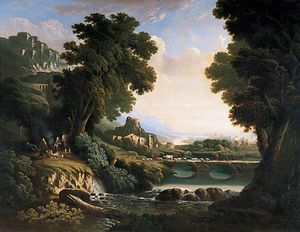 Abraham Pether - River Landscape With Foreground Figures Around A Fire, A River And A Bridge In The Distance
