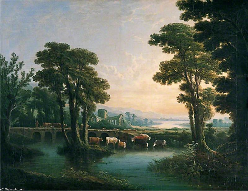 River With Cattle Drinking, A Ruined Church And A Bridge by Abraham Pether (1756-1812, United Kingdom) | Painting Copy | WahooArt.com