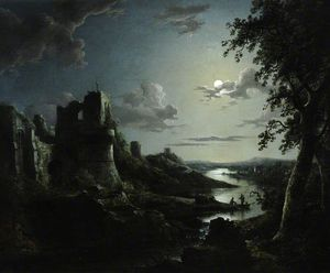 Abraham Pether - View Of Pendragon Castle By Moonlight