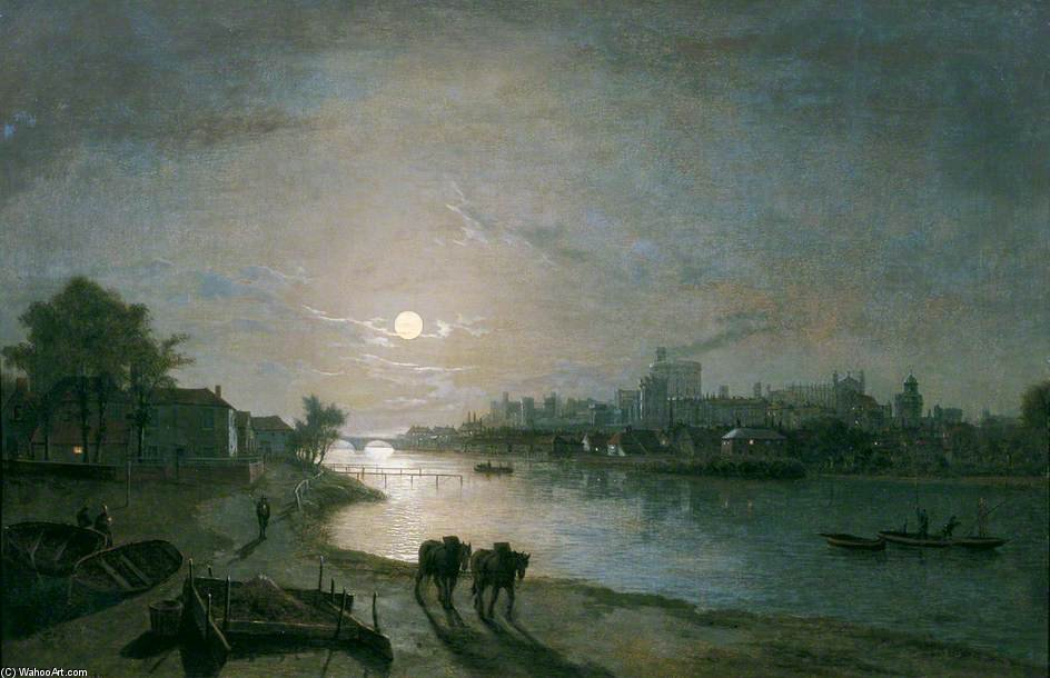 Windsor Castle By Moonlight by Abraham Pether (1756-1812, United Kingdom) | Museum Quality Reproductions | WahooArt.com
