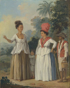 Agostino Brunias - West Indian Women Of Color, With A Child And Black Servant