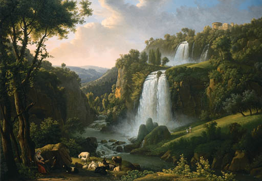 The Cascades At Tivoli With The Temple Of Sibyl And A