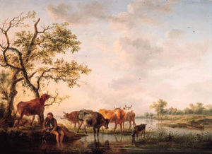 Balthasar Paul Ommeganck - A Cowherd Watering Cattle At Sunset