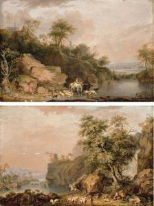 Balthasar Paul Ommeganck - A Rocky River Landscape With Herdsmen Watering Their Cattle And Sheep; And A Rocky River Landscape With Travellers And A Shepherd On A Path