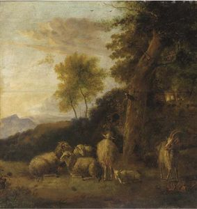 Balthasar Paul Ommeganck - A Wooded Landscape With A Group Of Sheep And Goats Resting