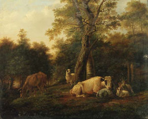 Balthasar Paul Ommeganck - Cattle, Goats And Sheep By Birches In A Wooded Landscape