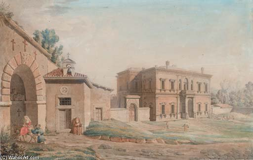 Entry Of A Monastery, A Roman Palace In The Background by Bartolomeo Pinelli (1781-1835, Italy)