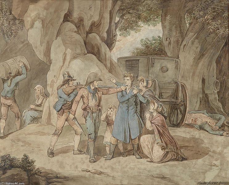 Robbers Attacked A Family by Bartolomeo Pinelli (1781-1835, Italy)