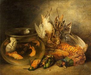 Benjamin Blake - Still Life, Game And Hanging Snipe With Goldfish In A Bowl