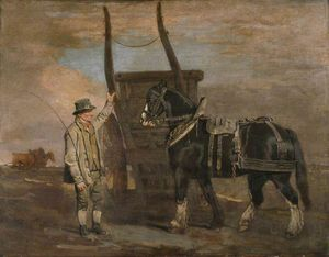 Benjamin Marshall - A Farmer With A Horse And Cart