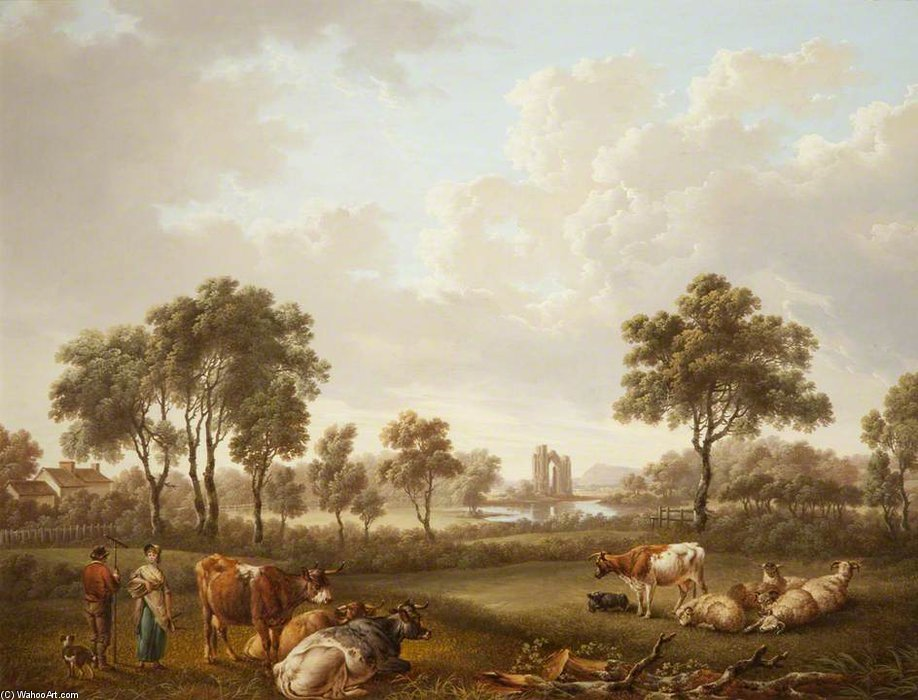 A Classical Landscape With Figures And Cattle by Charles Towne (1763-1854, United Kingdom)