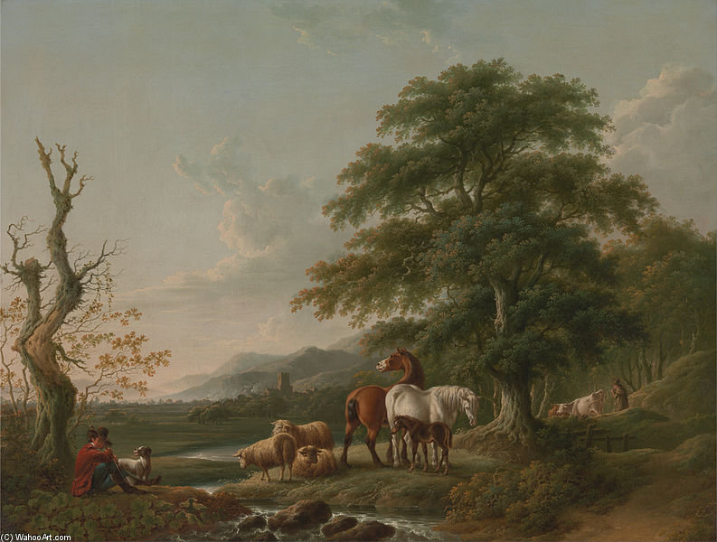 Landscape With A Shepherd by Charles Towne (1763-1854, United Kingdom)