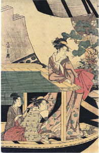 Chōbunsai Eishi - The Left-hand Sheet Of A Pentaptych Showing Two Young Girls And A Young Man In A Pleasure Boat