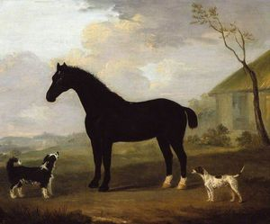 Francis Sartorius Ii (John Francis Sartorius) - A Black Horse With Two Dogs