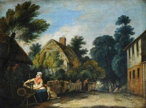 Francis Wheatley - A Woman Spinning In A Farmyard Setting