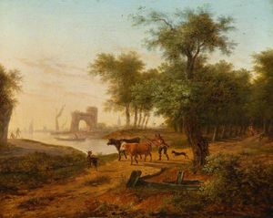 Frans Swagers - Coast Scene With A Wooded Landscape