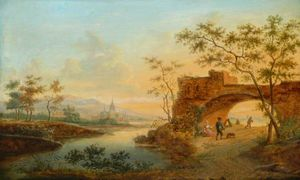 Frans Swagers - Landscape With River And Sunset