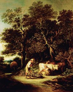 Gainsborouth Dupont - Wooded Landscape With A Milkmaid And A Woodman