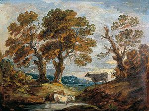Gainsborouth Dupont - Wooded Landscape With Cows