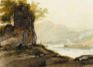 George Chinnery - A Ruin On A Hillside With A View Of A Pulwar On A Lake In The Distance