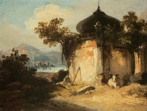 George Chinnery - Bengal Landscape With A Hindu Shrine Or Tomb