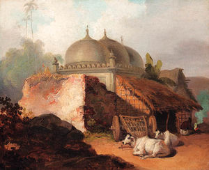 George Chinnery - Cattle Resting By A Mosque