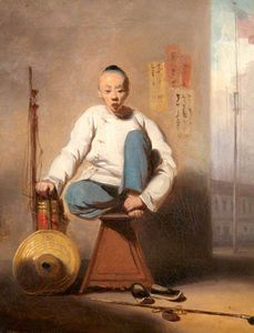 George Chinnery - Chinese Barber Outside The American Factory In Canton