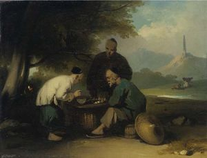 George Chinnery - Chinese Gaming At A Table, A Pagoda On A Hill Beyond