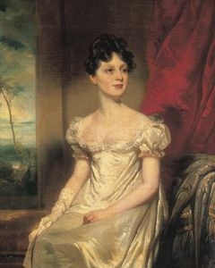 George Chinnery - Portrait Of Lady Jane Bruce, Three-quarter-length, In A White Dress, An Eastern Landscape Beyond
