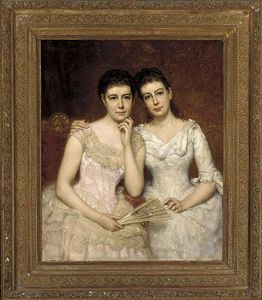 George Peter Alexander Healy - Portrait Of Miss Sophie Burnley And Miss Charlotte Heath Burnley
