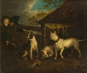 Henry Bernard Chalon - Boy With Three Bullmastiffs