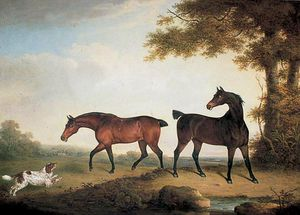 Henry Bernard Chalon - Two Chestnut Horses With An Eager Spaniel