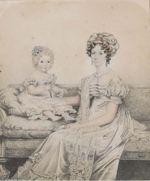 Order Oil Painting : Portrait Of A Mother And Child by Henry Edridge (1768-1821, United Kingdom) | WahooArt.com