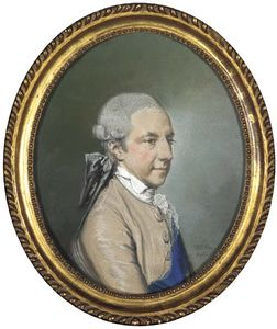 Hugh Douglas Hamilton - Portrait Of A Gentleman, Half-length, In A Brown Coat With Blue Waistcoat