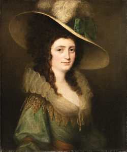 Hugh Douglas Hamilton - Portrait Of A Lady, Half Length, Wearing A Feathered Hat