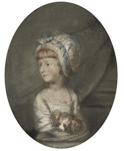 Hugh Douglas Hamilton - Portrait Of A Young Girl With Her Dog