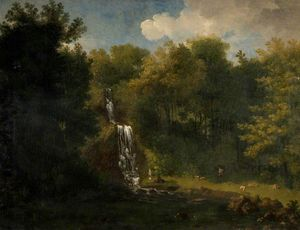 Jacob More - Landscape With Waterfall