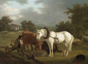 Jacques Laurent Agasse - A Rural Landscape With A Ploughman Resting With His Grey Horse
