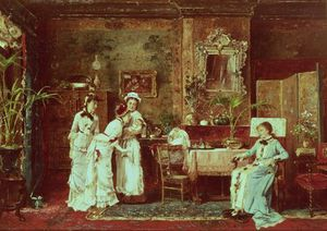 Mihaly Munkacsy - Visit To A New Mother