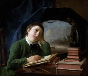 Nathaniel Hone - Portrait Of His Son Sketching