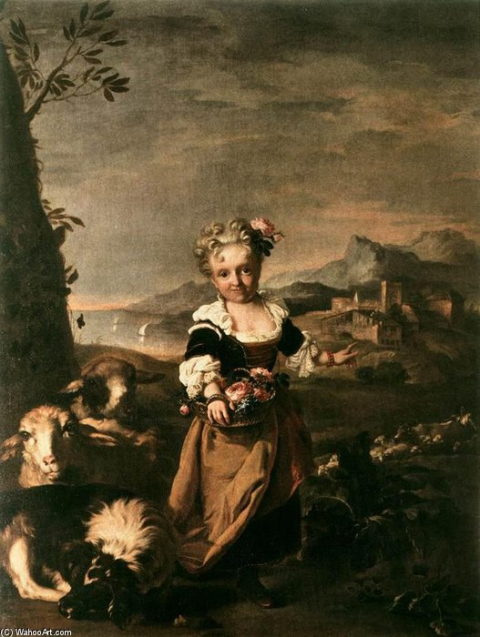 Portrait Of Angiola Biondi by Niccolò Cassana (1659-1713, Italy) | Museum Quality Reproductions | WahooArt.com