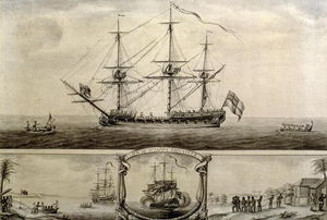 Nicholas Pocock - A View Of Ye Jason Privateer, C.1760 (pen &ink And Wash)