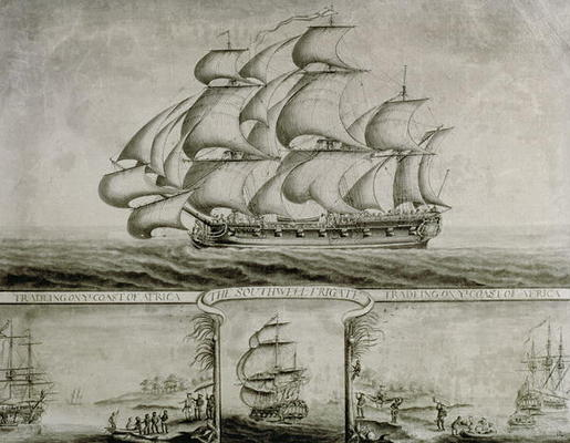 View Of The Southwell Frigate Trading On The Coast Of Africa, C.1760 (pen & Ink And Wash) by Nicholas Pocock (1740-1821, United Kingdom)