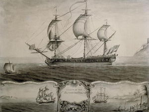 Views Of The Blandford Frigate On The Passage To The West Indies And Trading On The Coast Of Africa by Nicholas Pocock  (order Fine Art Hand Painted Oil Painting Nicholas Pocock)
