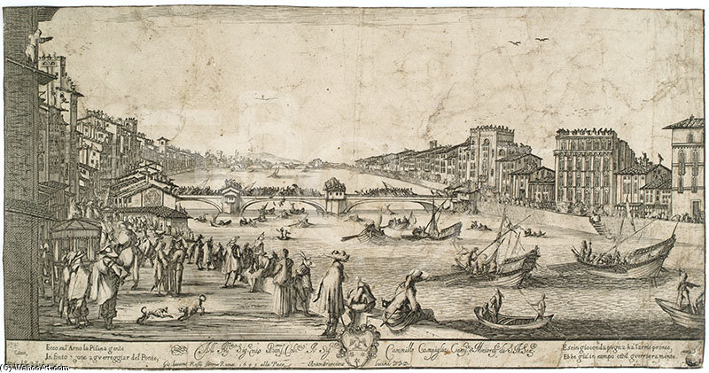 Buy Museum Art Reproductions | View Of Pisa During The Bridge Game by Stefano Della Bella (1610-1664, Italy) | WahooArt.com