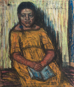 Suze Robertson - Rachel - A Seated Girl In A Yellow Dress -