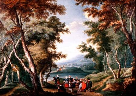 Wooded Landscape With Fruit Sellers And Other Figures by Theobald Michau (1676-1765, Belgium)