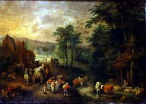 Theobald Michau - Wooded Landscape With Peasants And Waggons_2